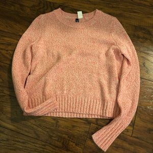 Pink and white marbled crop sweater